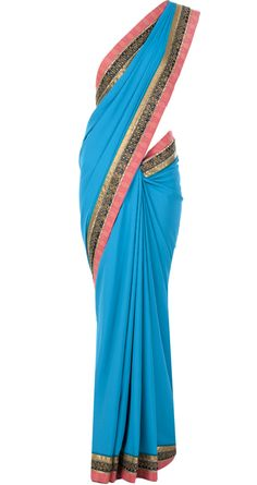 Blue and pink embroidered sari by J J VALAYA. http://www.perniaspopupshop.com/whats-new/j-j-valaya-blue-and-pink-embroidered-sari-jjvc1013a2854.html