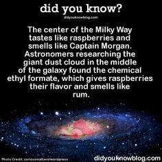 Space Facts The Milky Way tastes like raspberries and smells like rum. - How many of these did you know? Astronomy Facts, Space And Astronomy, Astronomy Science, Hubble Space, Space Telescope, Space Shuttle, Wow Facts, Wtf Fun Facts, Crazy Facts