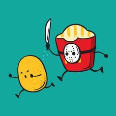 'French Fried Jason' Funny Horror Film Parody – Vinyl Print Poster Colorful Vinyl Print Poster Size: Artwork Officially Licensed by Chow Hon Lam Made in the USA Cute Puns, Funny Puns, Funny Art, Hilarious, Funny Horror, Horror Film, Funny Illustration, Humor Grafico, French Fries