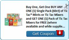 Buy One, Get One BUY ANY ONE (1) Single Pack (60ct) of Tic Tac® Mints or Tic Tac Mixers and GET ONE (1) Pack of Tic Tac Mixers for FREE (where... : #CouponAlert, #Coupons, #Printablecoupons Check it out here!!