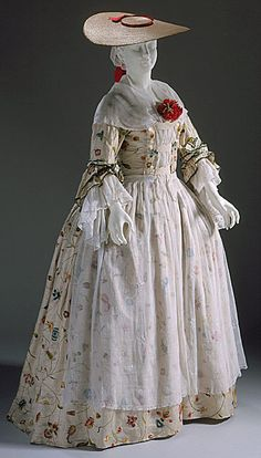 Dress ca. 1750-1760 via The Los Angeles County Museum of Art    One of the most important part of a lady's summer wardrobe was a wide-brimmed bergére hat which kept the sun off of her face and helped maintain a fair complexion.