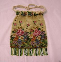 ANTIQUE FINE MICRO BEADED FLOWERS ROSES VIOLETS PANSIES PURSE FRINGE DRAWSTRING  #Unbranded #Drawstring