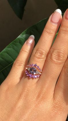Hottest Screen 3 Stone Grey Spinel Bridal Ring Set Purple Sapphire Wedding Bands by La More Design Ideas Are you currently looking for inexpensive wedding rings? At EFES you'll find wedding rings from Nu Purple Sapphire, Sapphire Wedding, Inexpensive Wedding Rings, Shop Engagement Rings, Ring Verlobung, Bridal Rings, Violet, Fine Jewelry, Jewellery