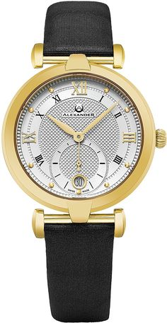7204dc154 Alexander Monarch Olympias Date DIAMOND Silver Large Face Stainless Steel  Plated Rose Gold Watch For Women - Swiss Quartz Brown Satin Leather Band  Elegant ...