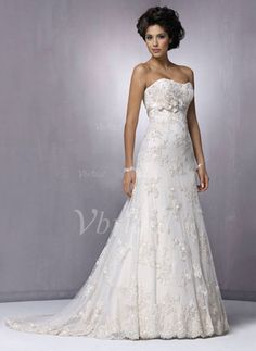 Wedding Dresses - $218.80 - A-Line/Princess Sweetheart Court Train Satin Lace Wedding Dress With Beading Flower(s) (00205001361)