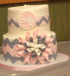 Emily's first birthday cake/pink and gray chevron