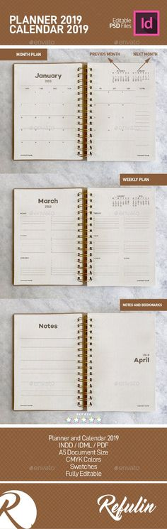 Planner and Calendar 2019 - Calendars Stationery Stationery Templates, Print Templates, Calendar Templates, Office Calendar, Calendar 2018, Calendar Design, Weekly Planner, Color Themes, Designs To Draw