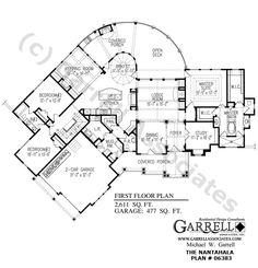 Nantahala Cottage House Plan # 06383 , 1st Floor Plan, Craftsman Style House Plans, Mountain Style House Plans, Wheelchair Accessible House Plans