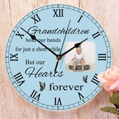Grandchildren hold our hands for just a short while but our hearts forever, Personalised clock from Write from the heart, Thank you Tallulah for letting us share this photo of your order Personalized Clocks, Photo Clock, Wow Factor, Photo Quality, Wow Products, Grandchildren, Thoughtful Gifts, Colorful Backgrounds, Your Design