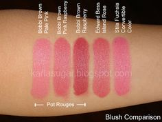 Bobbi Brown, Pot Rouge, Raspberry, Pink Raspberry, Pale Pink, Edward Bess, Island Rose, Stila, Fuchsia, Convertible Color, swatches