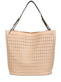 TOD'S - LARGE PERFORATED LEATHER BUCKET BAG - LUISAVIAROMA