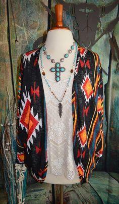 WRANGLER Kimono Cardigan Shrug AZTEC Tribal NWT Western BOHO Gypsy XL  #wrangler #cardiganshrug