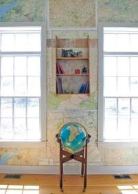 Maps as Wallpaper: Home Projects.  World travelers wallpaper den with favorite maps.  Yankee Magazine online.  Step by step directions! So excited to find this!