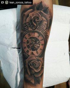 56 Ideas Tattoo Forearm Clock Design For 2019 Rose Tattoos For Men, Half Sleeve Tattoos For Guys, Small Tattoos For Guys, Trendy Tattoos, Outer Forearm Tattoo, Cool Forearm Tattoos, Clock And Rose Tattoo, Tattoo Video, Clock Tattoo Design