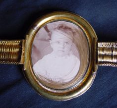 Victorian Locket Bracelet with Baby Picture and a lock of hair.
