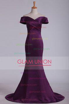 2016 del hombro de barrido tren vestidos de baile satén de la sirena MXN 3100.06 GUPAR2XEA9 - GlamUnion.com for mobile