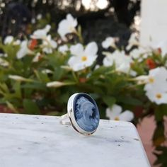 Appreciating the beauty of an agate cameo ring... 😍   #donadiojewelry #cameojewelry #blueagate #agatestone #agate #cameoring