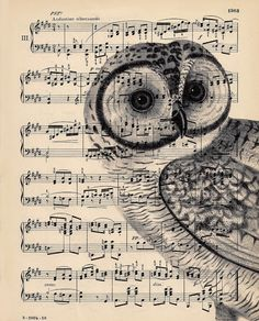owl printed on top of sheet music ... idea from Dishfunctional Designs: Upcycled Sheet Music Crafts ... luv how the image is translucent to the musical score shows through ...