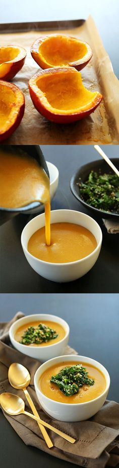 7 ingredient Savory Pumpkin Soup with a garlicky Kale-Sesame topping. Healthy, fast and #vegan #glutenfree