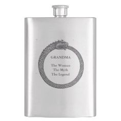 Pocket Flask GRANDMA THE LEGEND Gifts For Dad, Fathers Day Gifts, Gifts For Friends, Grandmother's Day, Grandmother Gifts, Dragon Slayer, Ancient Symbols, Celtic Designs, Whiskey Bottle