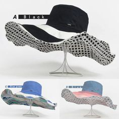 86a7189566f5f New UV Protect Wide Brim Floppy Women s Polka Dot Wave Derby Linen Beach  Sun Hat