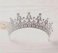 Elizabeth Queen Style Crystal Tiara Crowns Hair Jewelry Round Wedding Pageant  #Crown