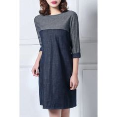 Casual Round Collar Color Block 3/4 Sleeve Dress For Women