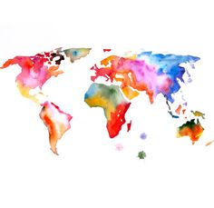Map of the world ART PRINT 13X19 original watercolor by PortLove, $45.00