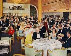 The interior of the SS Nieuw Amsterdam First Class Dining Room, a luxury transatlantic ocean liner of the Dutch fleet, named by Queen Wilhelmina in 1937, and known for its modern decor.