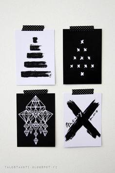 x-mas cards - Nina Oli. Dyi Christmas Cards, Christmas Art, Christmas Decorations, Christmas Ideas, Hang Tags, Branding Design, Cricut, Bullet Journal, Graphic Design