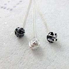 Geometric silver ball pendant on by FairinaCheng, $95.00