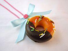 Kawaii Squishy Chocolate Donut Sprinkles Necklace. $10.00, via Etsy.