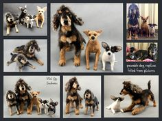 poseable needle felted dog replicas - posierbare, nadelgefilzte Hunderepliken