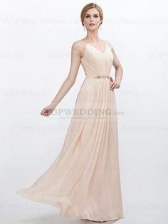#Chiffon #Prom #Dress with Beaded Waistband and Lace Back