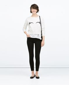 PLAIN KNIT UNEVEN HEM SWEATER WITH EYE EMBROIDERY - Woman - NEW THIS WEEK | ZARA Belgium