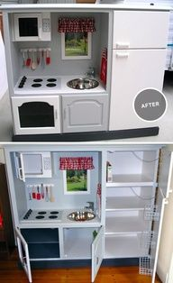 Before and after: handmade toy kitchen from old entertainment center.  I cant begin to express how clever these grandparents are, and crafty, to make this beautiful toy out of an old piece of unwanted furniture.  And its a hundred times better quality than the plastic play kitchens you can buy in the store.  way to go!