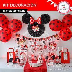 Kit imprimible Minnie Mouse en Rojo