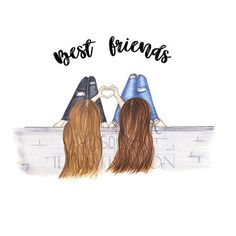 Personalized Best friends Fashion illustration print add names gift for sister B. - Personalized Best friends Fashion illustration print add names gift for sister BFF girlfriend co worker friends with heart hands art Best Friend Sketches, Friends Sketch, Drawings Of Friends, Drawing Of Best Friends, Cute Best Friend Drawings, Friends Mode, Cute Friends, Illustration Amis, Heart Illustration