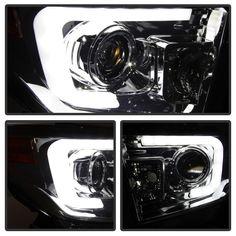 2014-2015 Toyota Tundra DRL Light-Bar Smoke Projector Headlights Toyota Tundra 1794 Edition, Toyota Tundra Crewmax, Toyota Tundra Trd Pro, Lifted Tundra, Toyota Tundra Platinum, Truck Mods, Projector Headlights, My Ride, Bar Lighting