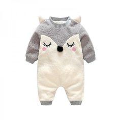 Adorable Fox Applique Contrast-sleeve Fleece Jumpsuit for Babies