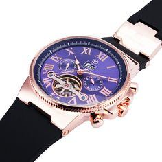 BEST SELLING Luxury Tourbillon Day&Date Men's Automatic Mechanical Wrist Watch Rose Golden Case Dark Blue Dial + GIFT BOX