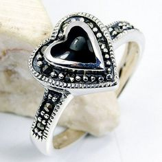 Queen of Hearts' Sterling Silver Black CZ, Marcasite Ring, Size 7.5