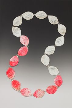 wrapped necklace - long by Kelly Nedderman - sterling silver, hand made abaca paper, screen print, pigment, acrylic