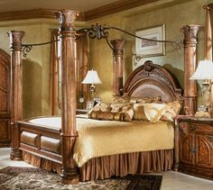 expensive canopy beds | Monte Carlo Queen Poster Canopy Bed Medium Brown Finish $2,809.00