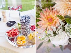 Striped paper straws and fresh fruits for fancy drinks really add some style to a cocktail hour!  From an outdoor wedding on Lake Winnipesaukee in NH.