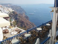 Let's meet here for lunch!  (In the always-gorgeous Santorini.)