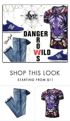 """""""Danger grows wild .. official contest by Rosegal"""" by almir-djulo ❤ liked on Polyvore featuring 7 For All Mankind, New Balance, men's fashion and menswear"""