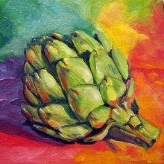 """artichoke, oil on canvas board, 6x6"""""""