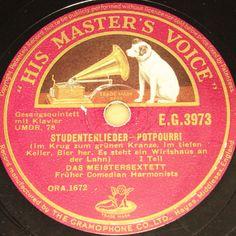 """""""Happy New Year Auction"""" startprice 9,99 Euro #78rpm #Schellackplatte DAS MEISTERSEXTETT (COMEDIAN HARMONISTS)  Studentenlieder  1935 HMV 78rpm 10"""