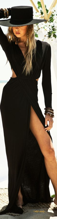 LORA HIGH SLIT MAXI DRESS | LadyLuxuryDesigns.